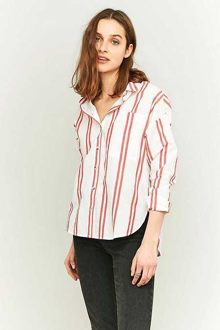 Urban Outfitters – Hemd mit doppeltem, rotem Streifendesign