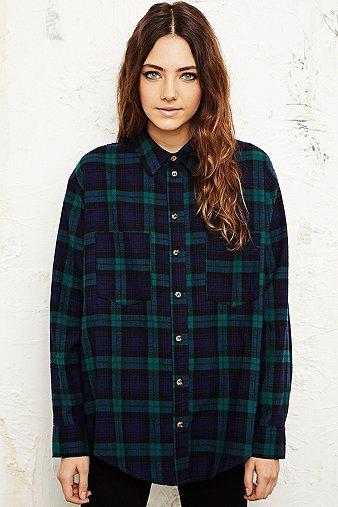 Bdg black watch flannel shirt in green urban outfitters for Black watch flannel shirt