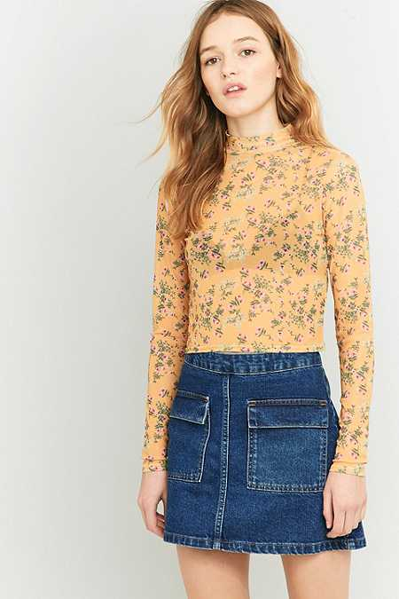 Urban Outfitters Dark Yellow Floral Mesh Turtleneck