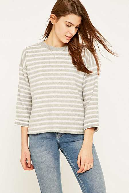 BDG Brushed Striped Boxy Grey Jumper