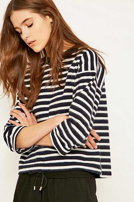 BDG Brushed Striped Boxy Navy Jumper