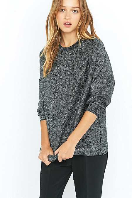 Light Before Dark Black Lurex Oversized Sweatshirt