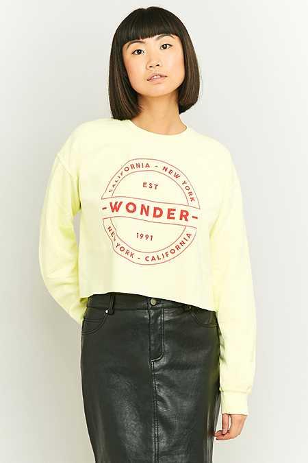"""BDG – Sweatshirt """"Wonder"""" in Limettengrün mit Rundhalsausschnitt"""