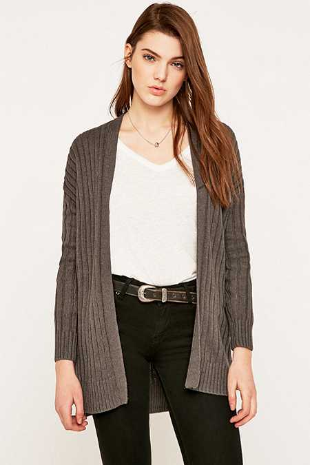 Ecote Wide Ribbed Open Cardigan