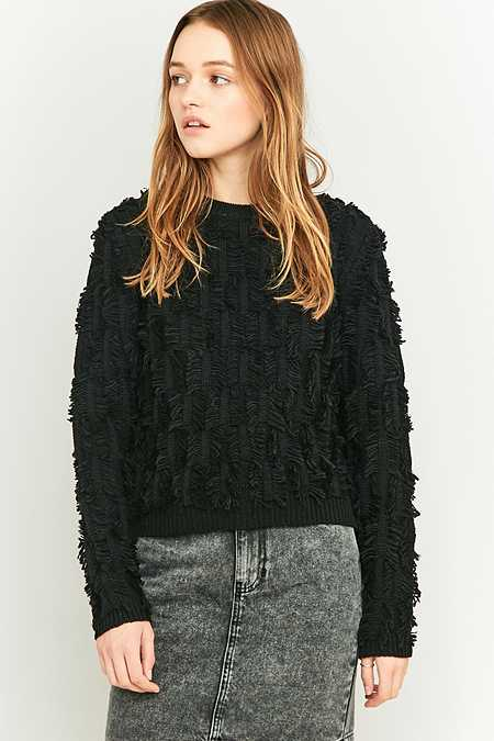 BDG Black Fringe Jumper