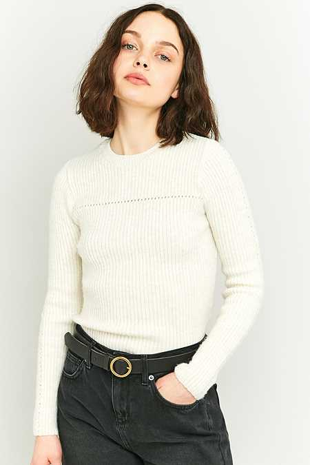 BDG Pretty Pointelle Beige Knit Jumper