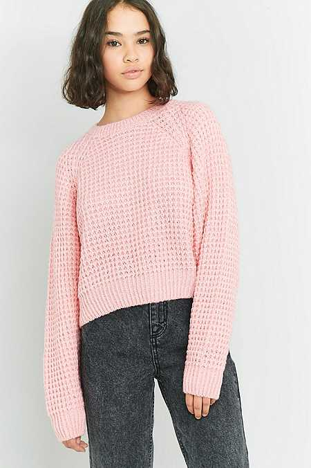 BDG Pink Waffle Knit Batwing Jumper