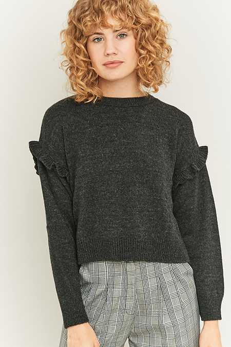 Urban Outfitters Ruffle Shoulder Grey Jumper