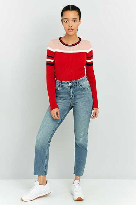 Urban Outfitters Fitted Ribbed Striped Jumper