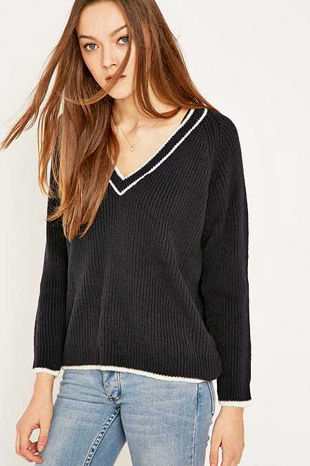 Urban Outfitters Contrast V-Neck Jumper