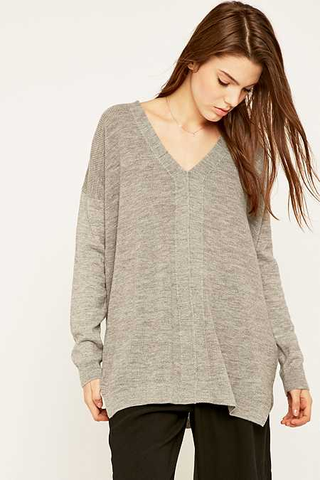Light Before Dark Grey V-Neck Sloppy Jumper