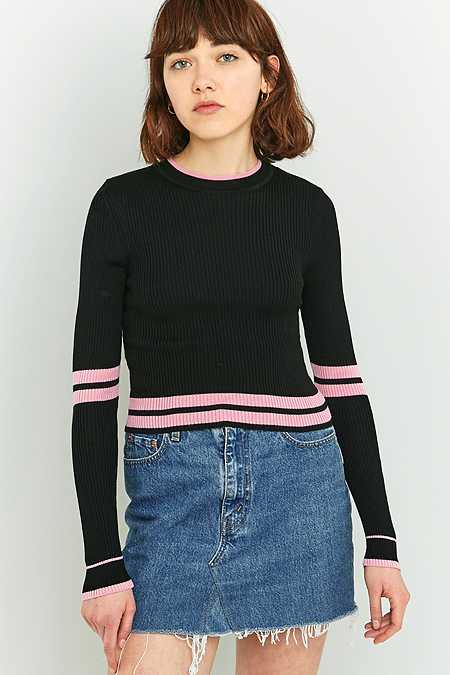 Urban Outfitters New Striped Sporty Cropped Jumper