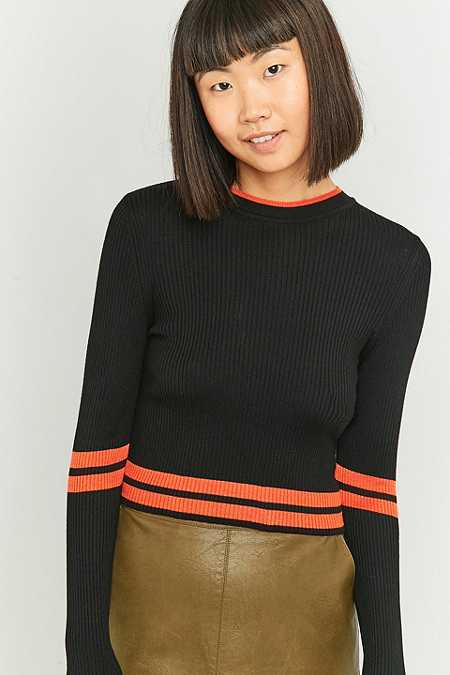 Urban Outfitters Sporty Cropped Black Jumper