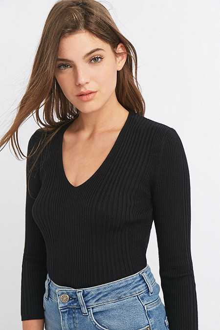 Urban Outfitters Ribbed V-Neck Black Jumper