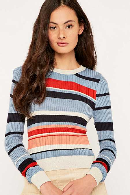 Urban Outfitters Ribbed Striped Crew Neck Jumper