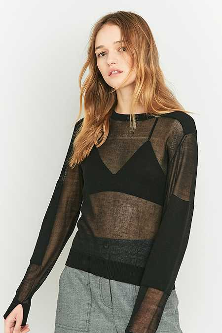 Light Before Dark Sheer Patched Jumper