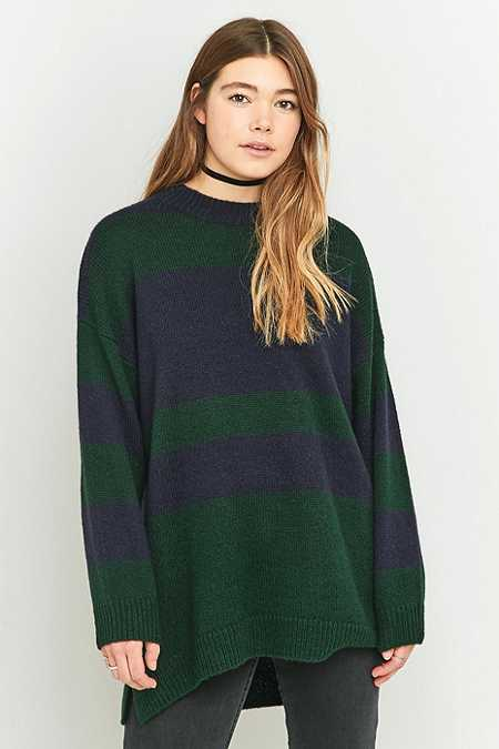 Urban Outfitters Wide Olive Striped Oversized Jumper