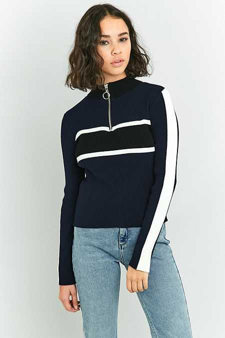 Urban Outfitters Placement Striped Funnel Neck Jumper