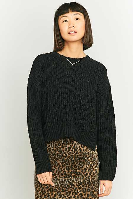 BDG Black Slub Fisherman Jumper