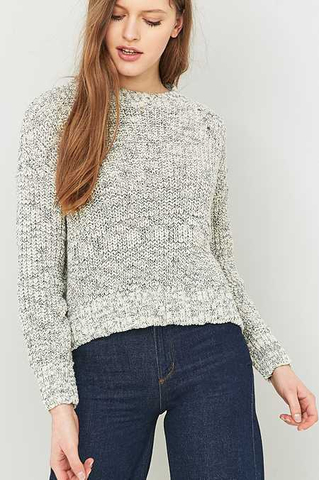 BDG Mixed Ribbed Ivory Fisherman Jumper