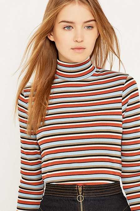 Urban Outfitters Striped Ribbed Turtleneck Jumper