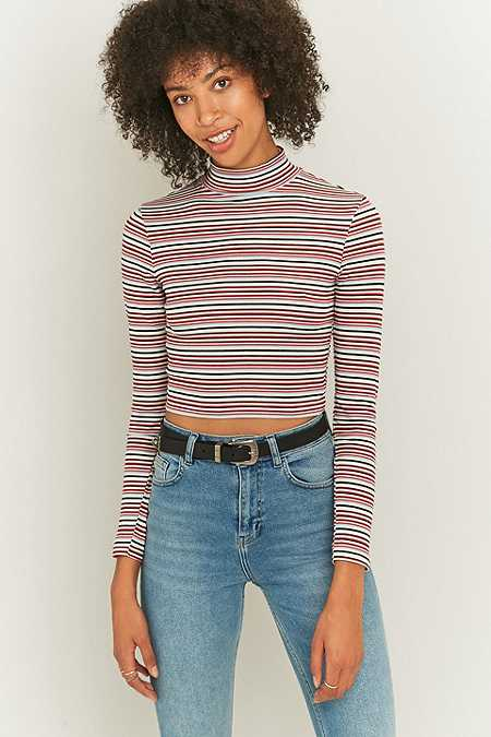 Urban Outfitters Maroon Striped Turtleneck Top