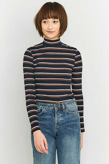 Urban Outfitters Navy Striped Turtleneck