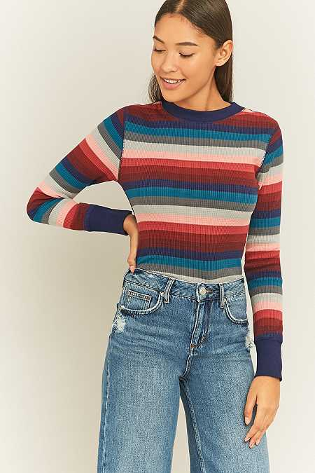 Urban Outfitters Pink Striped Waffle Knit Top