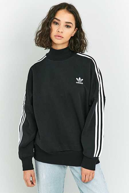 adidas Originals 3-Stripe Black Turtleneck Sweatshirt