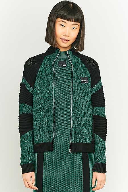 adidas Originals Equipment Green Colour Block Knit Zip Up Cardigan