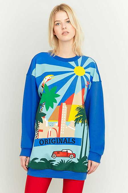 "adidas Originals – Oversized-Sweatshirt ""Sunny City Landscape"" in Blau"