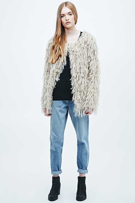 Free People Faithful Shaggy Beige Cardigan