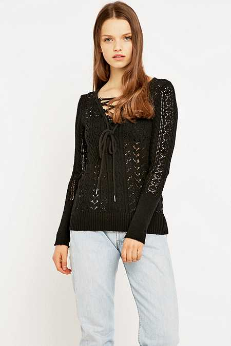 Free People Cross Ties Ginger Jumper