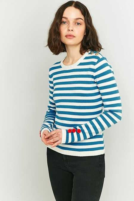 Manoush Blue Striped Pom-Pom Knitted Jumper