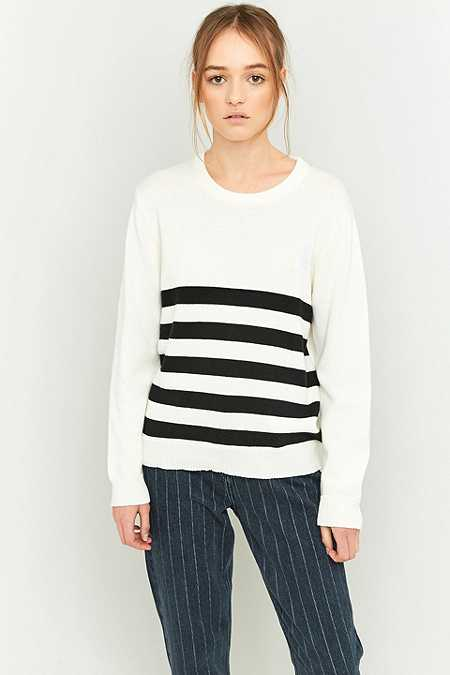 Peter Jensen Black and White Striped Crew Neck Jumper