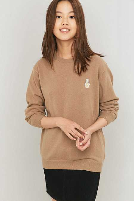 Peter Jensen Classic Brown Lambswool Crewneck Jumper