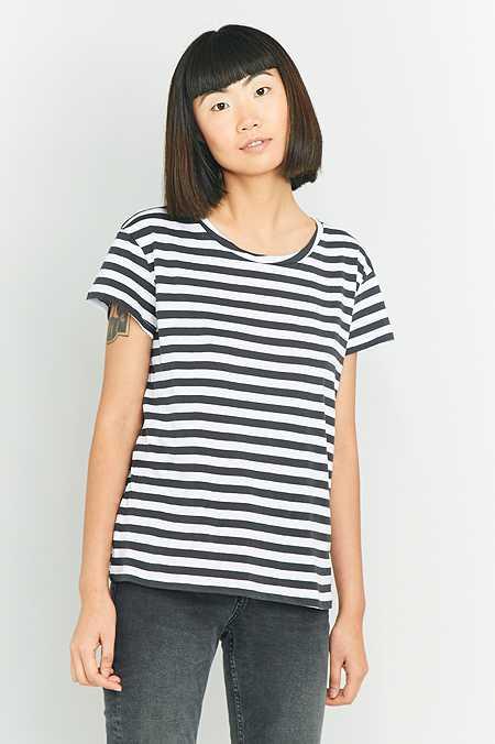 "Cheap Monday – T-Shirt ""Have"" mit schmalem Streifenprint"