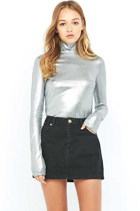Cheap Monday Rock Silver Turtleneck Top