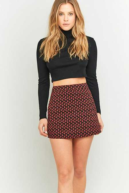 Zip Up Leather Skirt