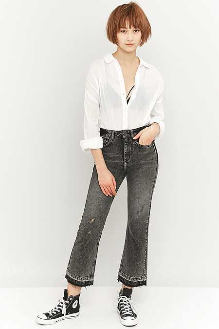 BDG Worn Black Cropped Kick Flare Jeans