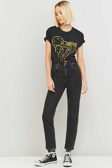 BDG – High-Waist-Girlfriend-Jeans in verwaschenem Schwarz