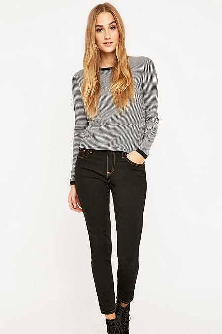 BDG Contrast Stich Mid-Rise Black Skinny Jeans