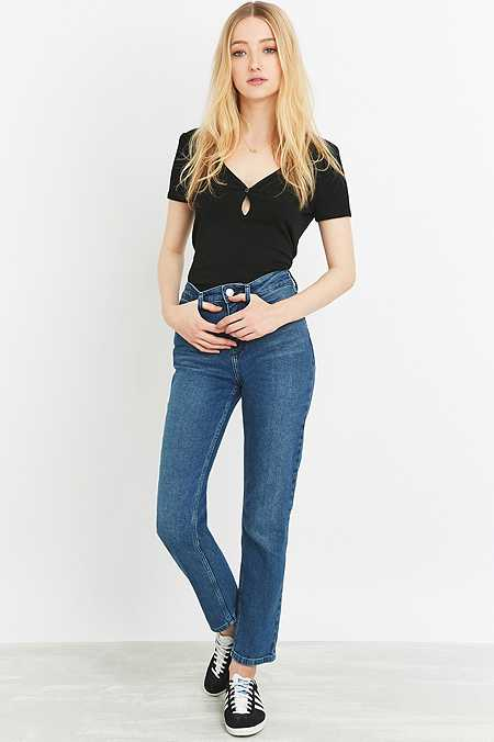 BDG New Girlfriend Mid-Blue Straight Leg Jeans