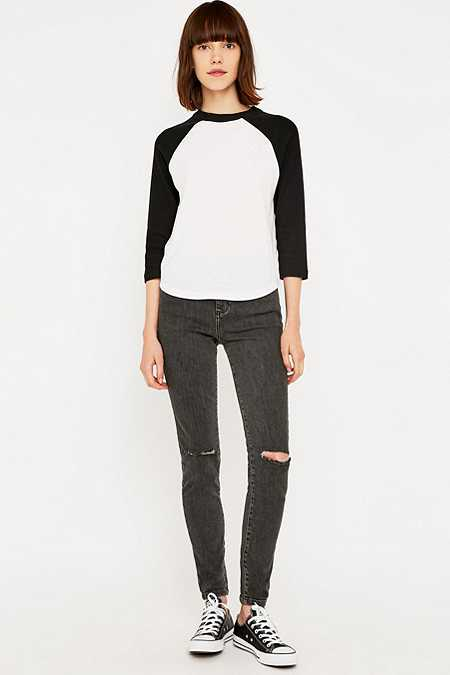 BDG Mid-Rise Ripped Black Wash Cropped Skinny Jeans