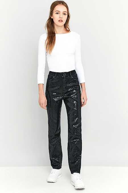 BDG Black Sequin Mom Jeans