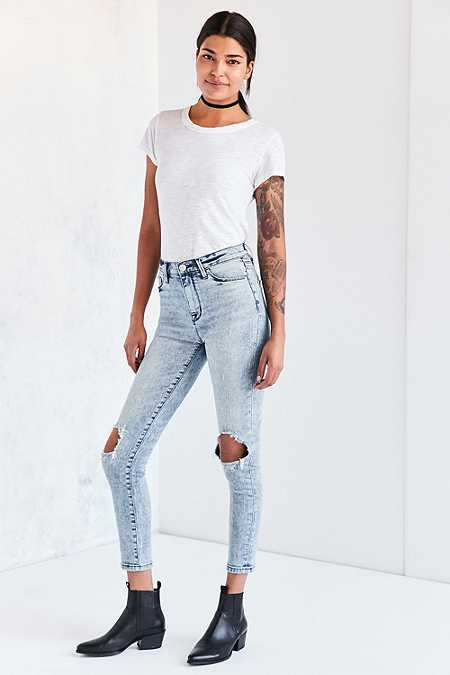 BDG Twig High-Rise Acid-Wash Ripped Blue Skinny Jeans