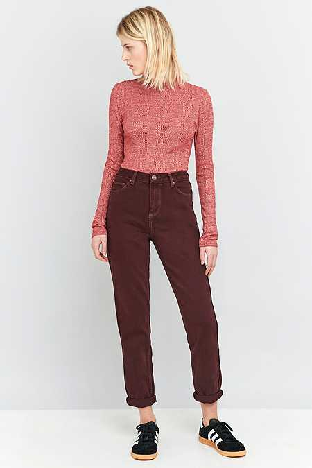 BDG Dark Maroon Mom Jeans
