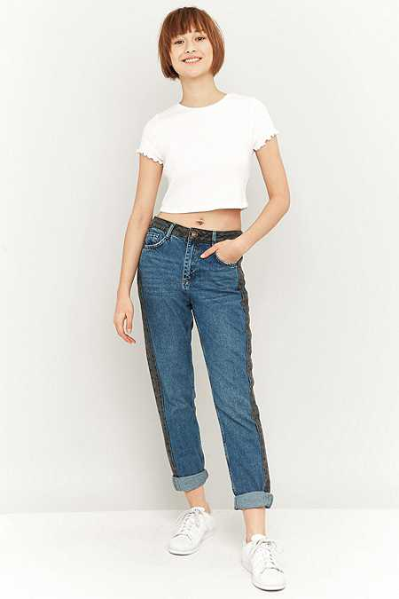 BDG Contrast Side Stripe Blue Mom Jeans