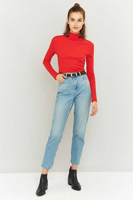 BDG Stone Bleached Blue Mom Jeans