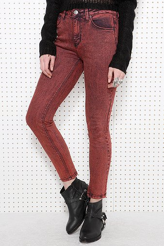BDG Acid Wash Jeans in Burgundy